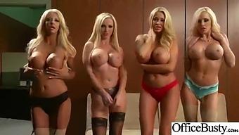 Round Big Ttits Girl (Courtney Nikki Nina Summer) Like Hard Style Bang In Office Vid-14